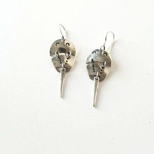 Cute Hinged Sterling Horseshoe Crab Beach Earrings
